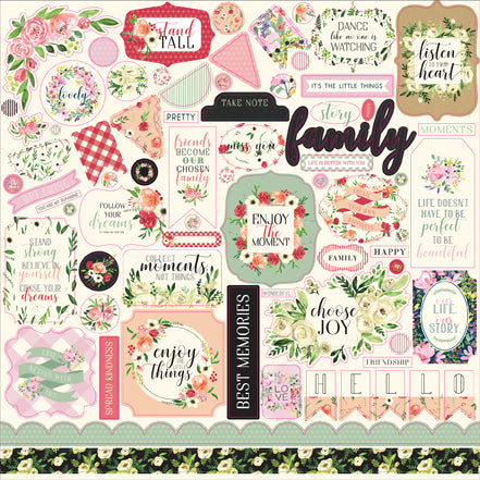 Carta Bella 12x12 Cardstock Stickers - Botanical Garden - Elements