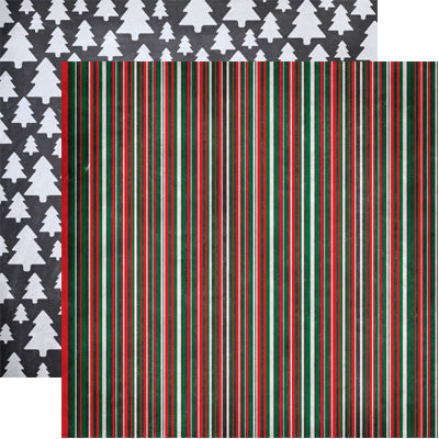 Reminisce Papers - Chalkboard Christmas - Chalkboard Stripe - 2 Sheets