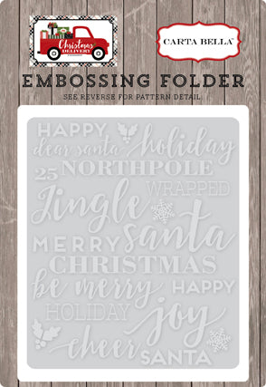 Carta Bella Embossing Folder - Christmas Delivery - Holiday Phrases