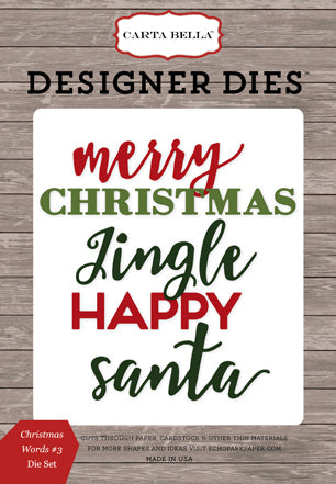 Carta Bella Designer Dies - Christmas Delivery - Christmas Words #3 Die Set