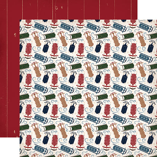 Carta Bella Papers - Cabin Fever - Sliding Sleds - 2 Sheets