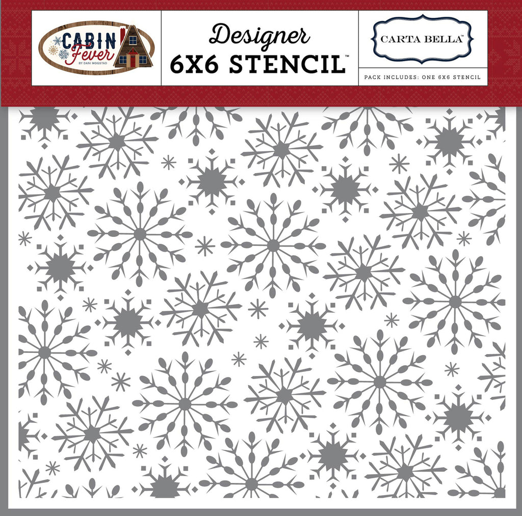 Carta Bella 6x6 Stencil - Cabin Fever - Frosted Snowflakes