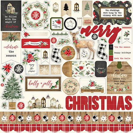 Carta Bella 12x12 Cardstock Stickers - Christmas - Elements