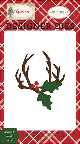 Carta Bella Designer Dies - Christmas - Antlers & Holly Die Set
