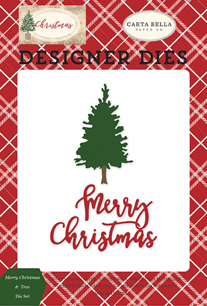 Carta Bella Designer Dies - Christmas - Merry Christmas & Tree Die Set