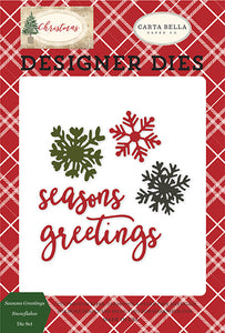 Carta Bella Designer Dies - Christmas - Seasons Greetings Snowflakes Die Set