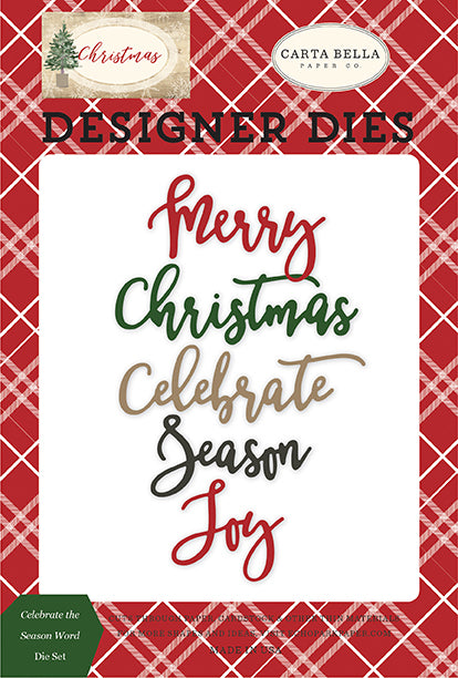 Carta Bella Designer Dies - Christmas - Celebrate the Season Word Die Set
