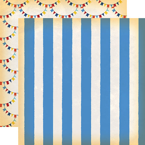 Carta Bella Papers - The Circus - Big Top Stripe - 2 Sheets
