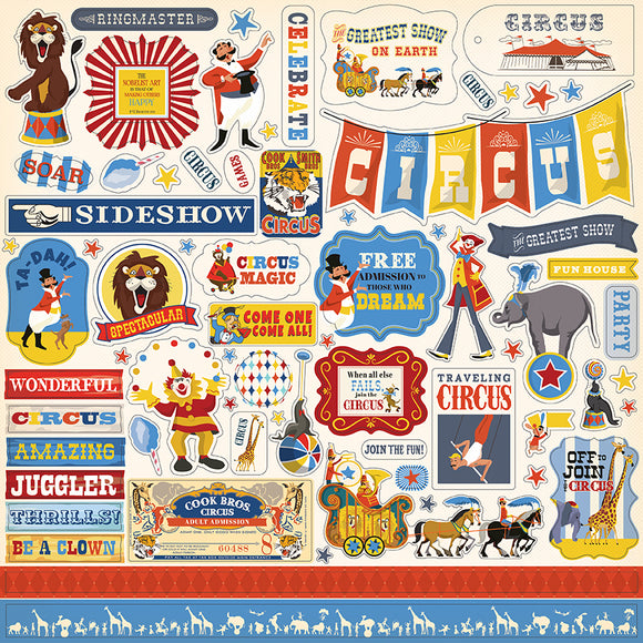Carta Bella 12x12 Cardstock Stickers - The Circus - Elements
