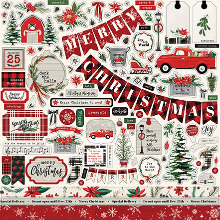 Carta Bella 12x12 Cardstock Stickers - Christmas Market - Elements
