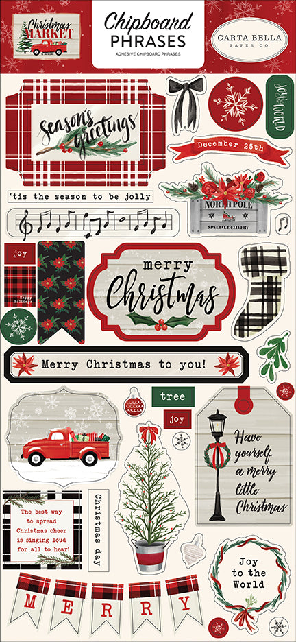 Carta Bella Chipboard - Christmas Market - Phrases