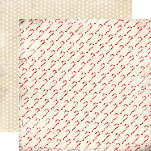 Carta Bella Papers - Christmas Time - Candy Canes - 2 Sheets