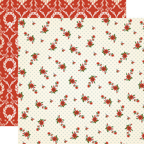 Carta Bella Papers - Christmas Wonderland - Poinsettia - 2 Sheets