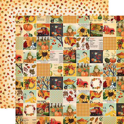 Carta Bella Papers - Fall Break - Fall Squares - 2 Sheets