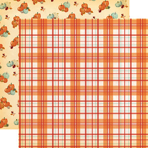 Carta Bella Papers - Fall Break - Pumpkin Plaid - 2 Sheets