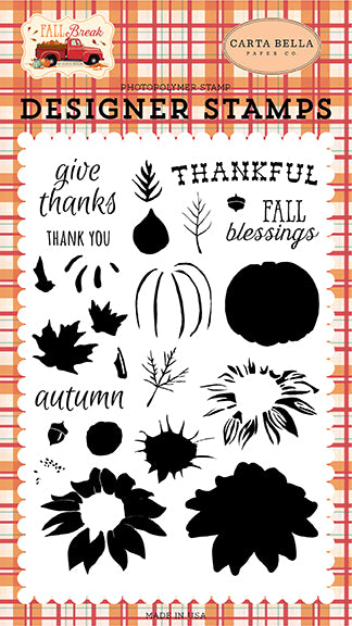 Carta Bella Clear Stamp Set - Fall Break - Thankfully Layering Stamps