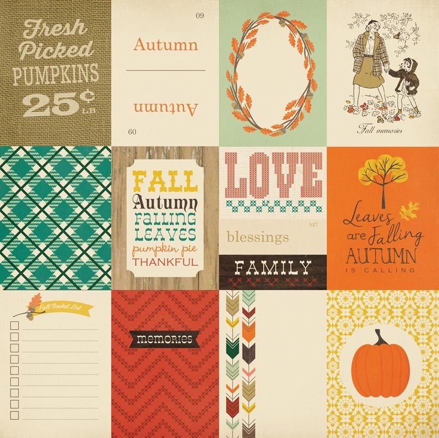 Carta Bella Cut-Outs - Fall Blessings - 3x4 Journaling Cards