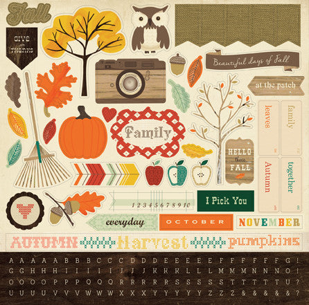 Carta Bella 12x12 Cardstock Stickers - Fall Blessings - Elements
