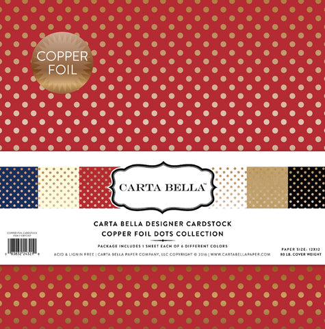 Carta Bella Collection Kit - Designer Cardstock - Copper Foil Dots