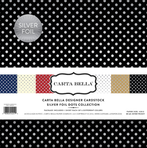 Carta Bella Collection Kit - Designer Cardstock - Silver Foil Dots
