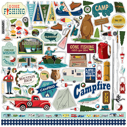 Carta Bella 12x12 Cardstock Stickers - Gone Camping - Elements