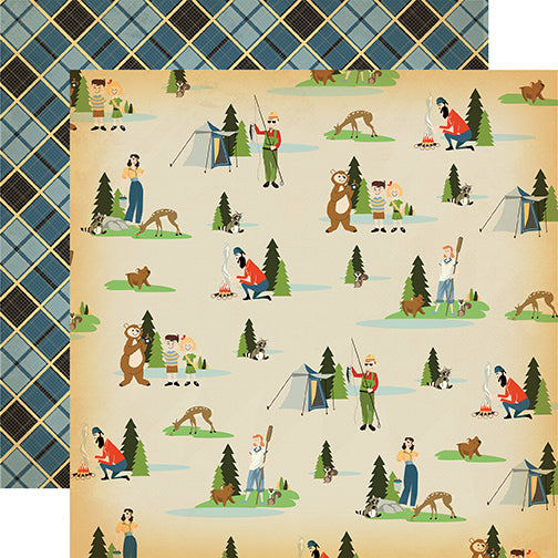 Carta Bella Papers - The Great Outdoors - Let's Camp - 2 Sheets