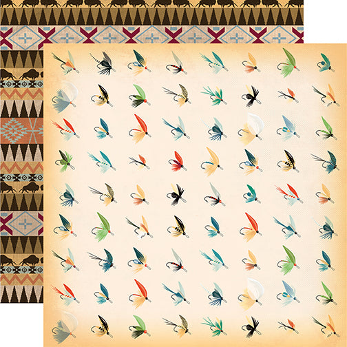 Carta Bella Papers - The Great Outdoors - Fish Flies - 2 Sheets