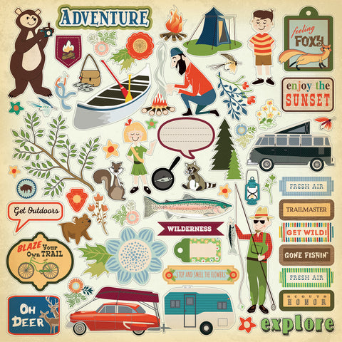 Carta Bella 12x12 Cardstock Stickers - The Great Outdoors - Elements