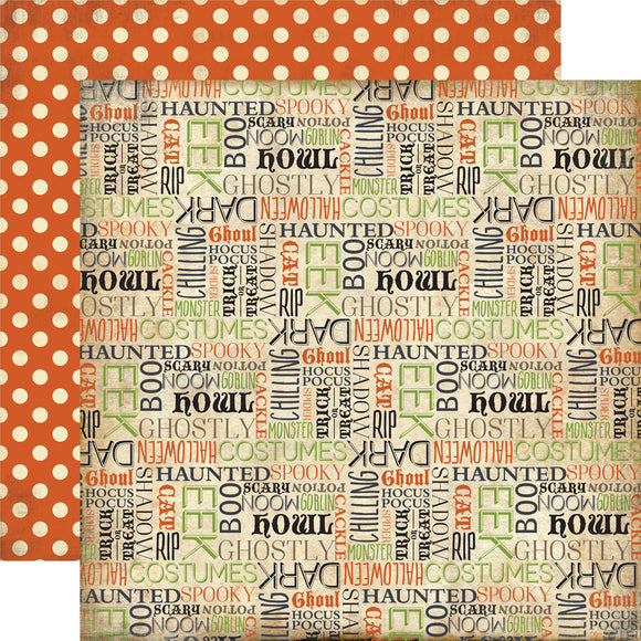 Carta Bella Papers - Haunted - Haunted Words - 2 Sheets