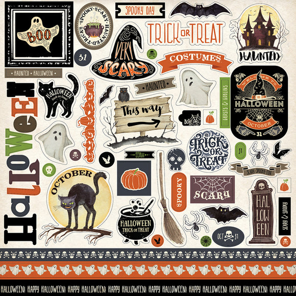 Carta Bella 12x12 Cardstock Stickers - Haunted - Elements