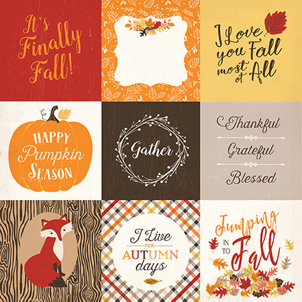 Carta Bella Cut-Outs - Hello Fall - 4x4 Journaling Cards
