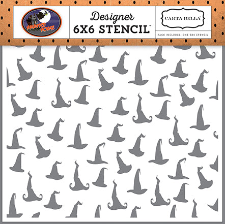 Carta Bella 6x6 Stencil - Haunted House - Witch Hats