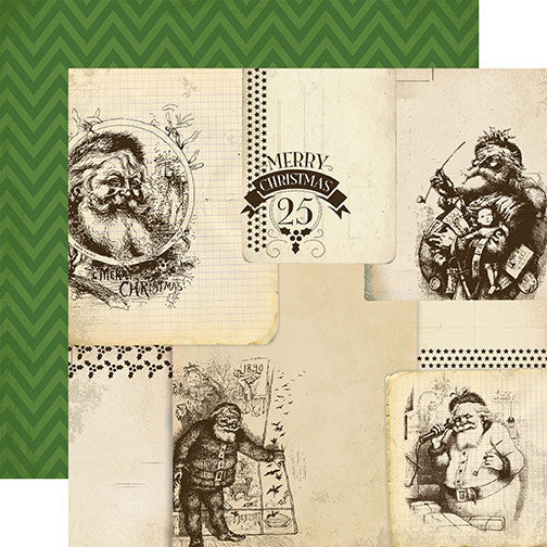 Carta Bella Papers - Have a Merry Christmas - Vintage Santas - 2 Sheets