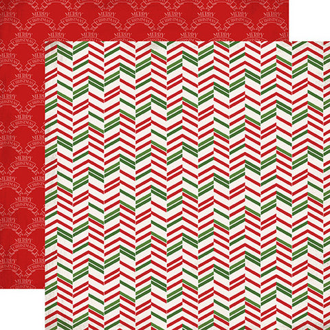 Carta Bella Papers - Have a Merry Christmas - Christmas Herringbone - 2 Sheets