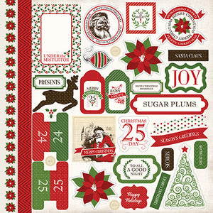Carta Bella 12x12 Cardstock Stickers - Have a Merry Christmas - Elements