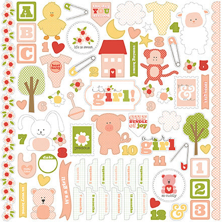 Carta Bella 12x12 Cardstock Stickers - It's a Girl - Elements