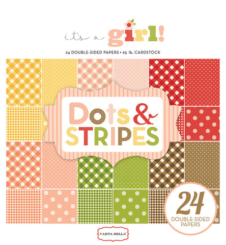 Carta Bella 6x6 Pad - It's a Girl - Dots & Stripes