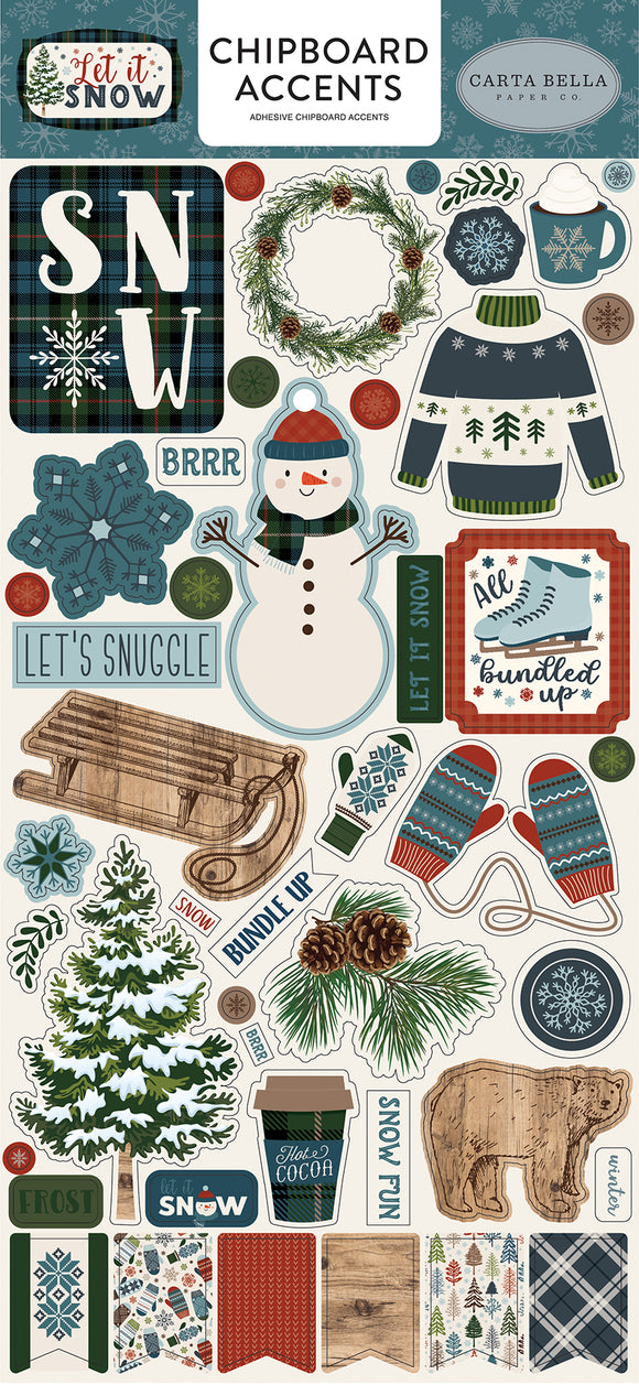 Carta Bella Chipboard - Let It Snow - Accents