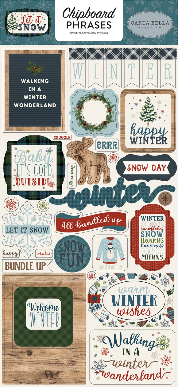 Carta Bella Chipboard - Let It Snow - Phrases