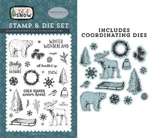 Carta Bella Die and Stamp Set - Let It Snow - Cold Hands, Warm Heart