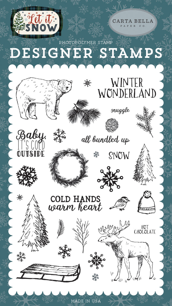 Carta Bella Clear Stamp Set - Let It Snow - Cold Hands, Warm Heart