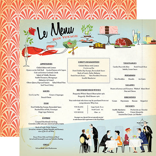Carta Bella Papers - Let's Cruise - Le Menu - 2 Sheets