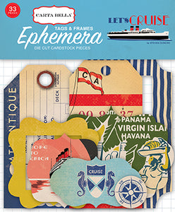 Carta Bella Ephemera Die-Cuts - Let's Cruise - Frames & Tags