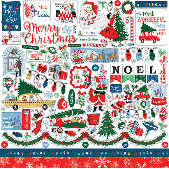 Carta Bella 12x12 Cardstock Stickers - Merry Christmas - Elements