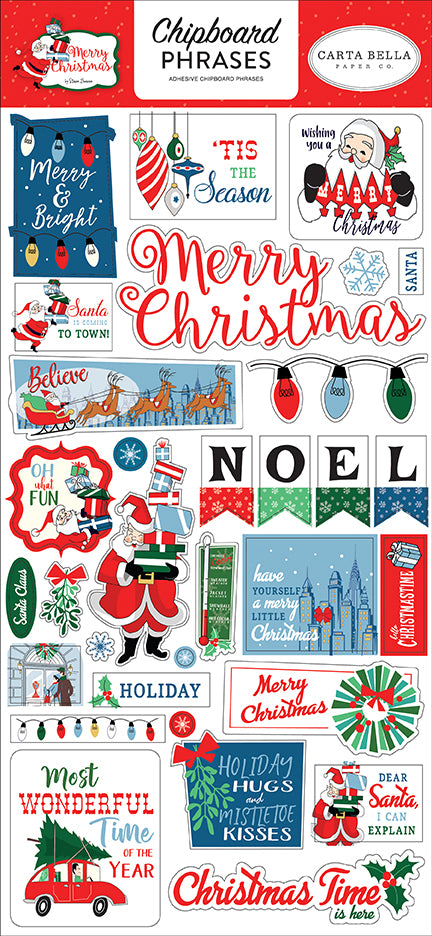 Carta Bella Chipboard - Merry Christmas - Phrases