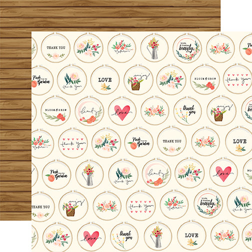 Carta Bella Papers - Flower Market - Embroidery Hoops - 2 Sheets
