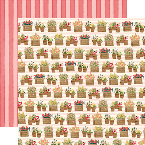 Carta Bella Papers - Flower Market - Planted Flowers - 2 Sheets