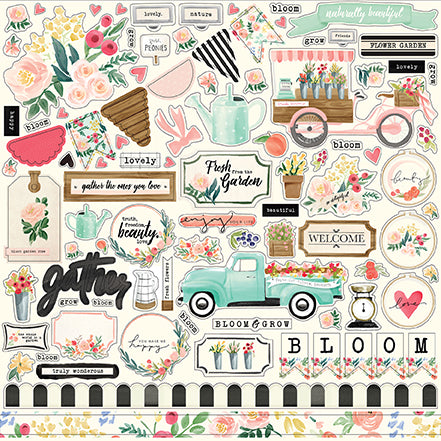 Carta Bella 12x12 Cardstock Stickers - Flower Market - Elements