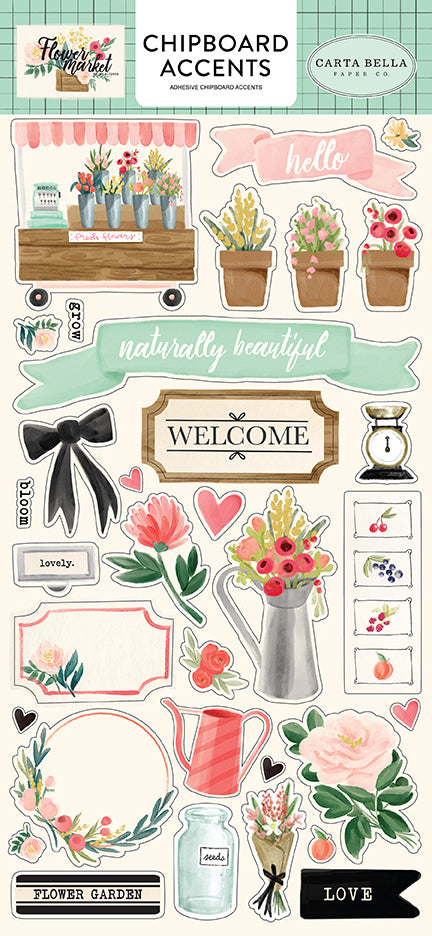 Carta Bella Chipboard - Flower Market - Accents