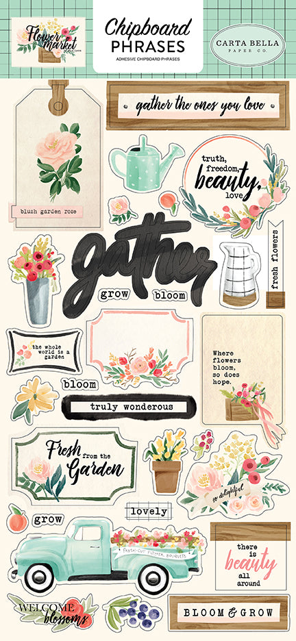 Carta Bella Chipboard - Flower Market - Phrases